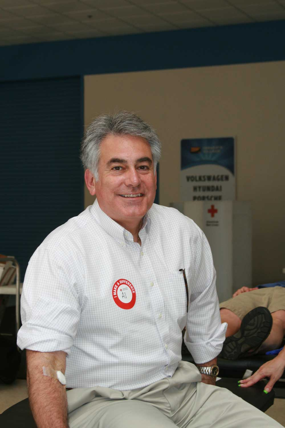 Assemblyman Stirpe donating blood at his 7th Annual Lifesavers Blood Drive and Health Fair.