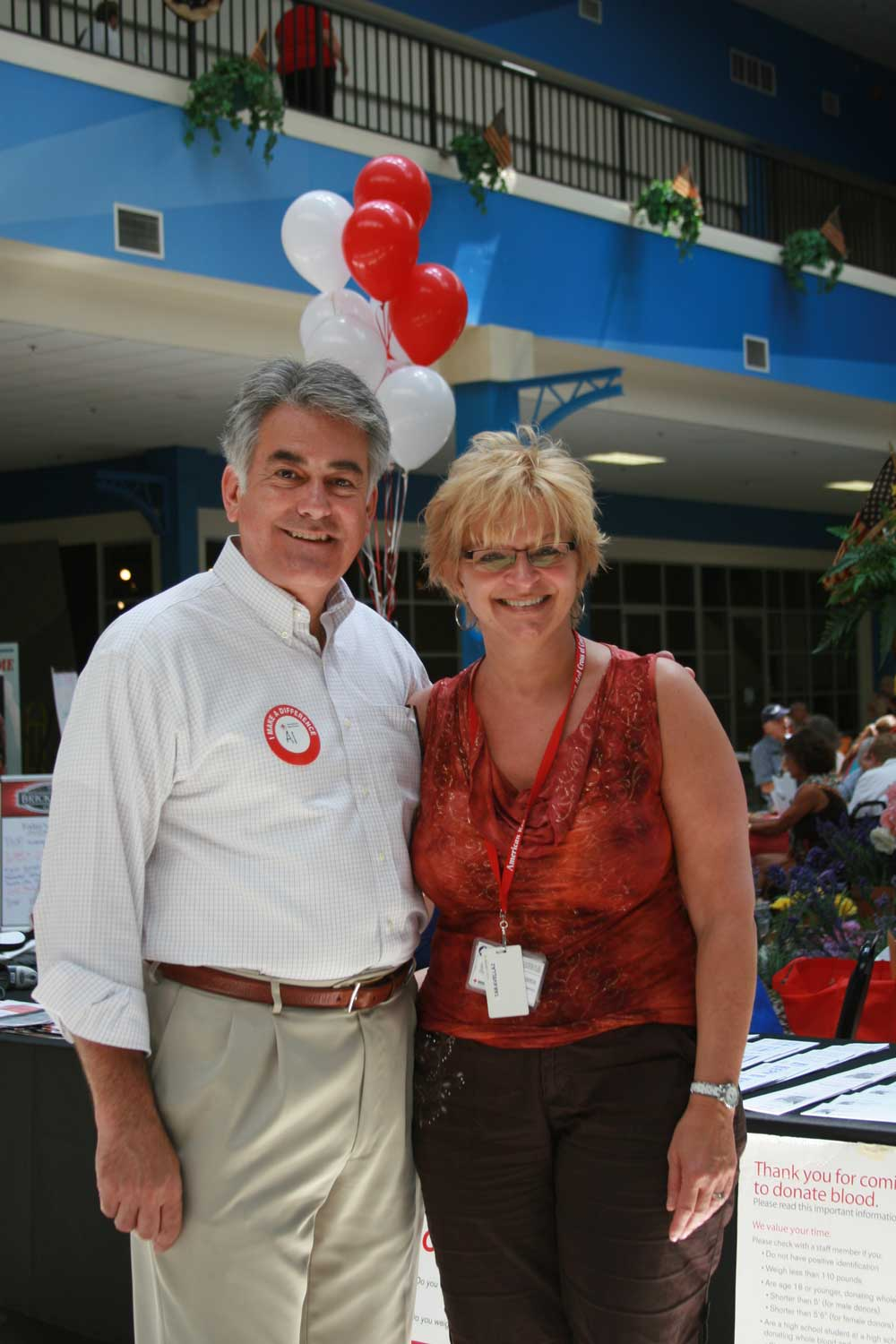 Assemblyman Stirpe with Rosie Taravella, the Regional Executive Officer of the American Red Cross.
