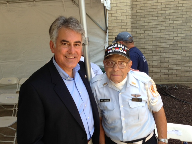Assemblyman Stirpe with World War II Veteran Ed Zaluski of Cicero.