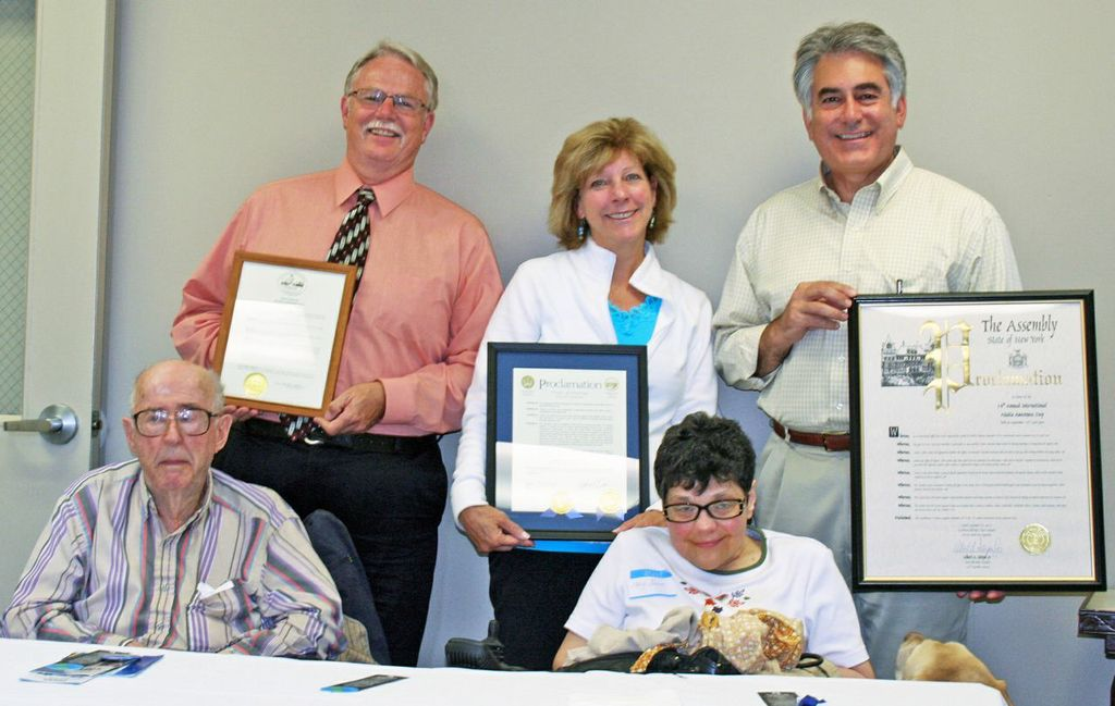 Assemblyman Stirpe presents proclamations at the National Ataxia Awareness Day Ceremony in North Syracuse.