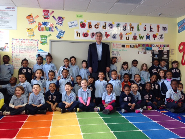 Assemblyman Stirpe visits with the kindergarten class at Syracuse Academy of Science.