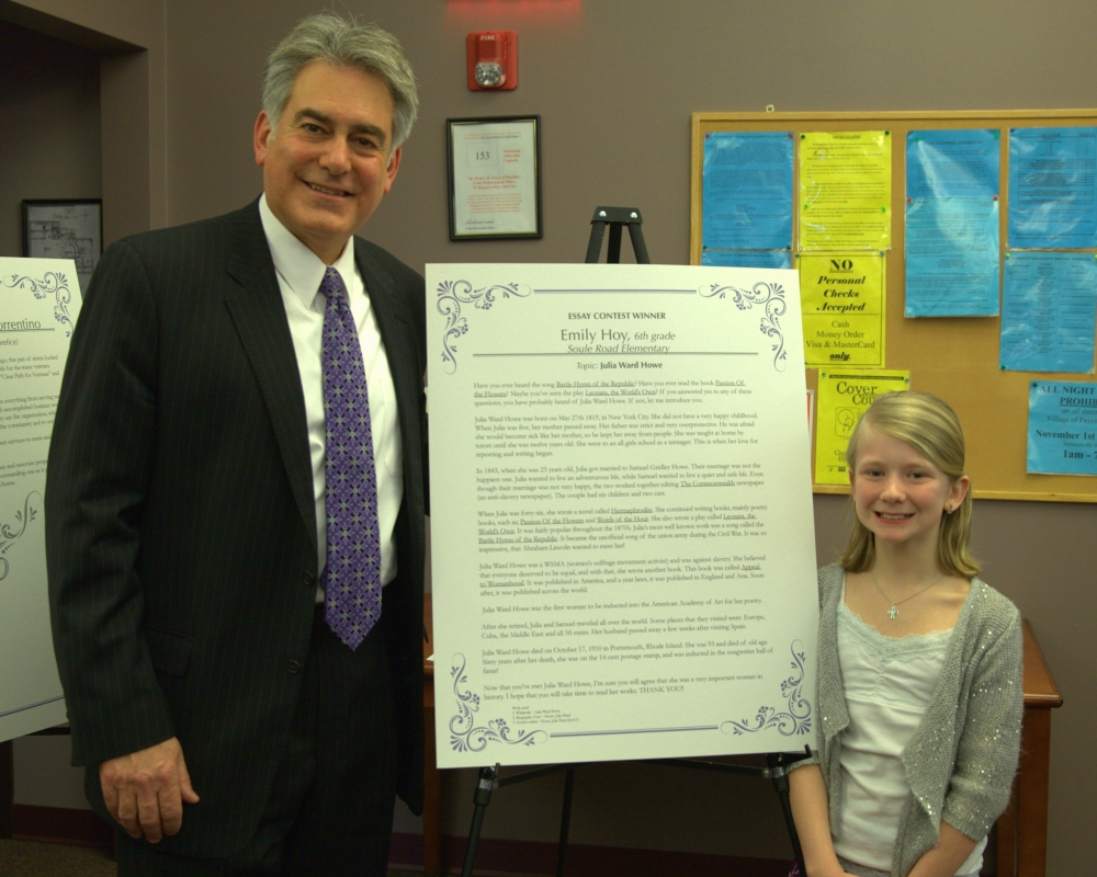 Assemblyman Al Stirpe and Emily Hoy, 6th grader at Soule Road Elementary in Liverpool and a 2014 Women of Distinction Essay Contest Winner.