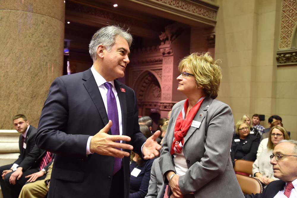 January is National Blood Donor Month. Assemblyman Stirpe speaks with Rosie Taravella, Regional Chief Executive Officer for the Red Cross of Central New York in the Assembly Chamber.