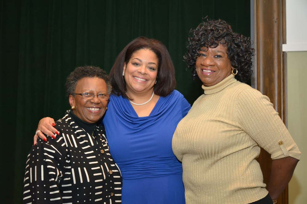 Onondaga County Legislator & Minority Leader Linda Ervin and Onondaga County Legislator Monica Williams join Assemblymember Pamela J. Hunter at her swearing-in at Le Moyne College on December 29, 2015
