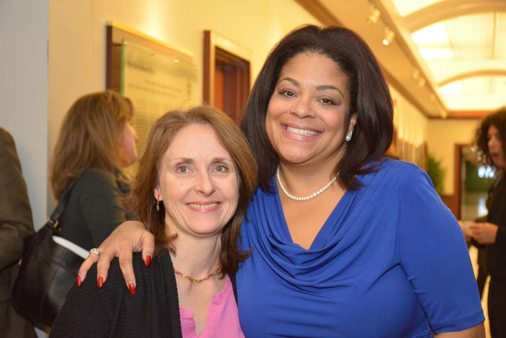 DeWitt Town Board Member Kerin Rigney and Assemblymember Pamela J. Hunter at her swearing-in at Le Moyne College