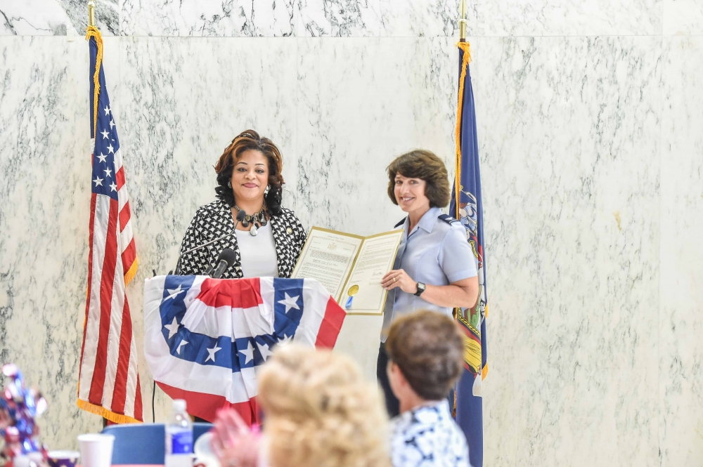 Assemblymember Hunter honors  Col. Maureen G. Murphy, commander of the 109th Mission Support Group of the New York Air National Guard for her service.