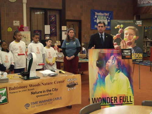 "Students at Dr. Weeks Elementary School looked on as Assemblyman Magnarelli commented on the ""Connect A Million Minds"" program from Time Warner Cable, which provided the school with a year's worth of hands-on science programs at Baltimore Woods."