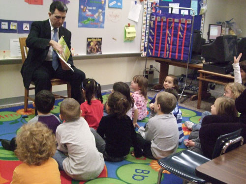 Solvay Elementary kindergarten students listened to Assemblyman Magnarelli read �The Itsy-Bitsy Spider.�