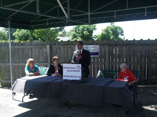 Assemblyman Magnarelli recently held a press conference about the Gold Alert being vetoed. , Similar to the Amber Alert, gold Alert was designed to use federal, state, and local resources to assist families in searching for adults who have cognitive impairments. Also at the press conference were Linda Pierik, daughter of an adult who went missing; Catherine James, Chief Executive Officer of the Alzheimer�s Association; and Arlene Bolton of AARP.