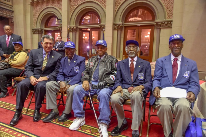 Assemblyman Magnarelli was able to meet with several members of the Tuskegee airmen, the first African-American military aviators in the United States Armed Forces during World War II.<br />