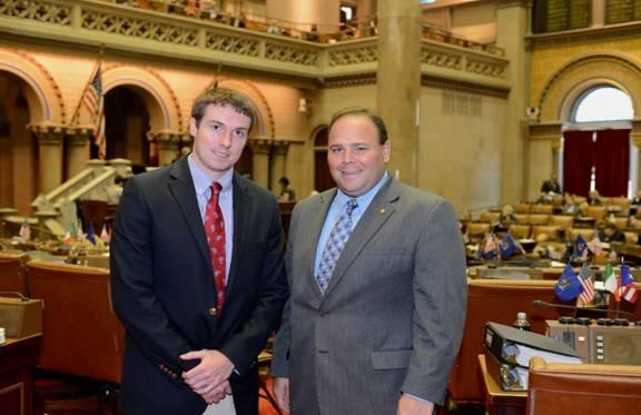 Assemblyman Phil Palmesano (R,C,I-Corning) (right) recently welcomed Andrew Cook (left), a resident of Penn Yan in Yates County, to the NYS Assembly to spend a few days getting a firsthand look at the day-to-day activities of being in the Assembly.