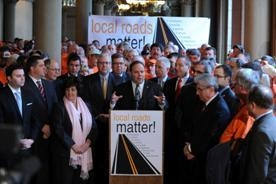 Assemblyman Phil Palmesano speaking during the press conference.