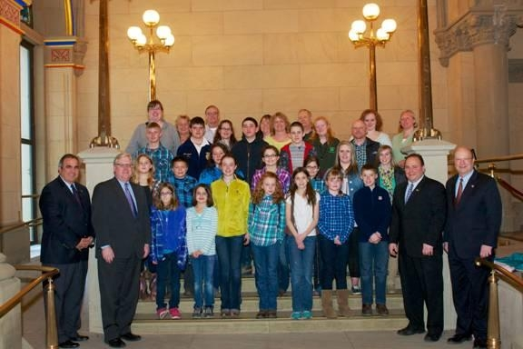 Assemblyman Joe Giglio, Senator Tom O�Mara, Assemblyman Phil Palmesano, and Assemblyman Bill Nojay with parents and members of leader Rebecca Painter�s Canisteo 4-H Stars.