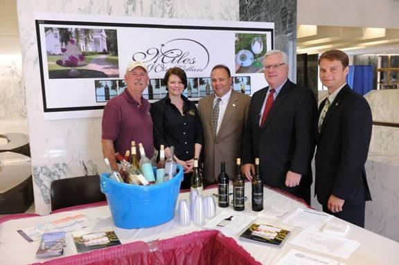Scott Osborn, President of Fox Run Vineyards; Suzy Hayes of Miles Wine Cellars; Assemblyman Phil Palmesano (R,C,I-Corning); Sen. Tom O�Mara; and Assemblyman Christopher S. Friend (R,C,I-Big Flats) at the NYS Wine and Cheese Tasting Reception.
