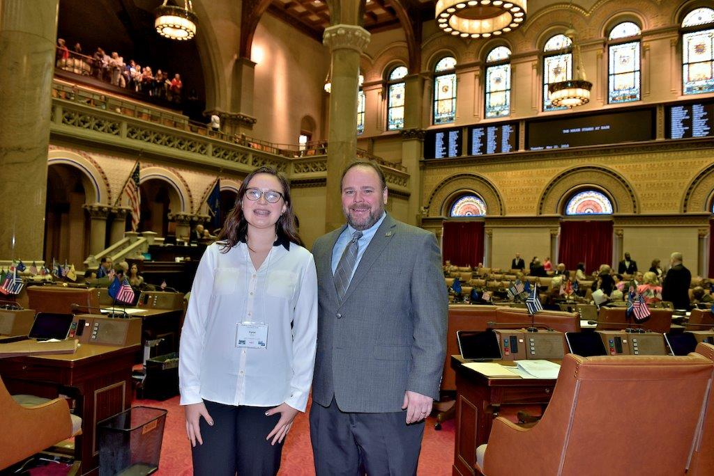 Kylee Miller from Bath, New York and Assemblyman Phil Palmesano pictured in the Assembly Chamber
