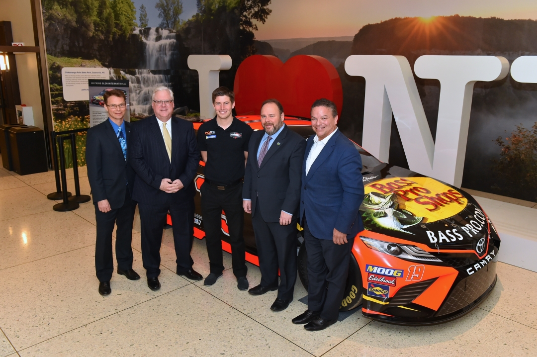 2019 Motorsports Appreciation Week exhibit in the Empire State Plaza, from left to right: Assemblyman Friend, Senator O'Mara, Professional Driver Colin Braun, Assemblyman Palmesano, and WGI Presid