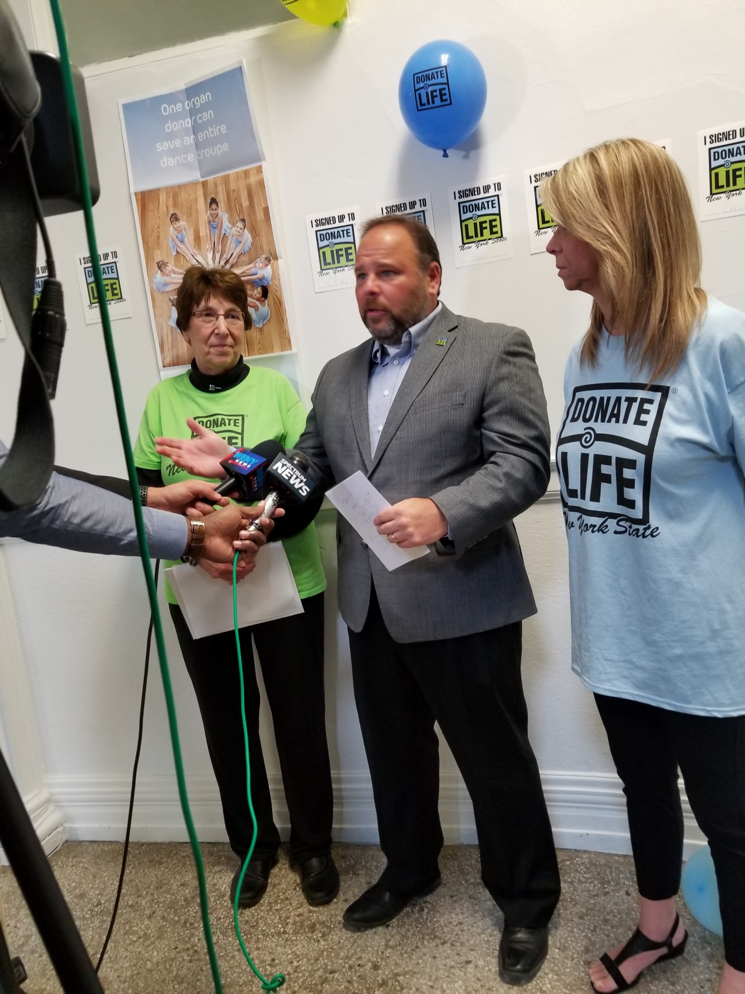 Assemblyman Palmesano speaking to reporters with Steuben County Clerk Judith Hunter pictured to the left and Deputy County Clerk Susan Cranmer pictured to the right.