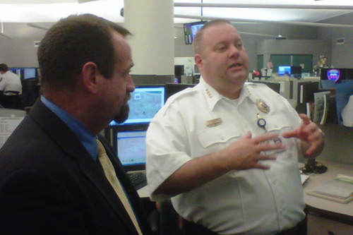 Assemblymember Bronson tours the Monroe County 911 Emergency Communications Center with Director John Merklinger on June 28, 2011.