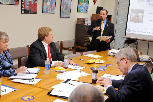 Assemblymember Bronson meets with members of the Legislature to talk about the New York State Pollution Prevention Institute, which has a partnership with the state of New York and run by the Rochester Institute of Technology, to discuss how we can support business growth in this state while helping New York lead the way in green initiatives.