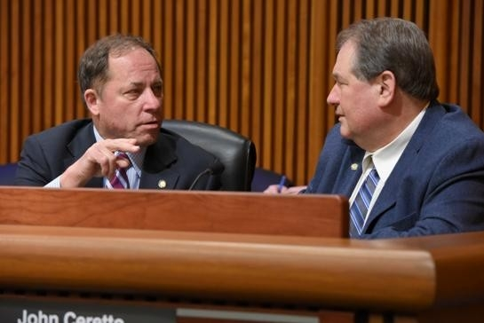 Assemblyman Steve Hawley (R,C,I-Batavia), seen left, talking budget priorities with Assemblyman John Ceretto (R,C,I-Lewiston).