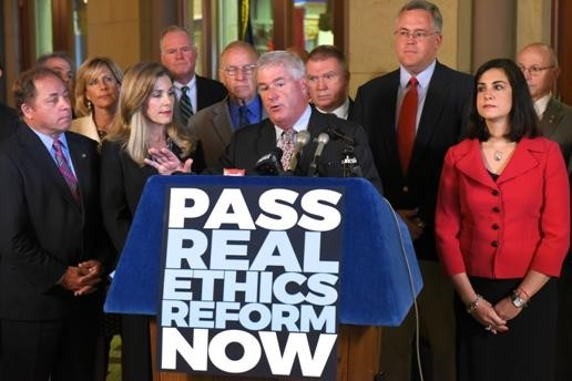 Assemblyman Steve Hawley (R,C,I-Batavia) (far left) recently joined his Assembly Minority colleagues to call for comprehensive ethics reform in the final days of session.