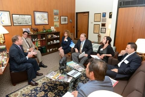 Assemblyman Steve Hawley (R,C,I-Batavia) (left) hosts the Buffalo-Niagara Board of Realtors in his legislative office recently.