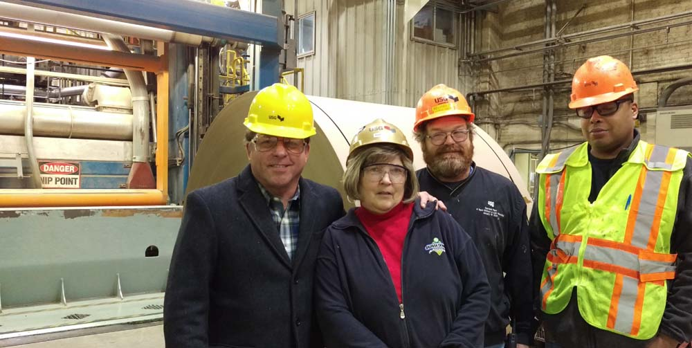 Assemblyman Steve Hawley (R,C,I-Batavia) (far left) commends employees at the Oakfield U.S. Gypsum plant for their strict adherence to safety. U.S. Gypsum has won numerous MSHA Sentinels of Safety Mining Awards and was named one of the safest companies in 2015 by EHS Today Magazine.