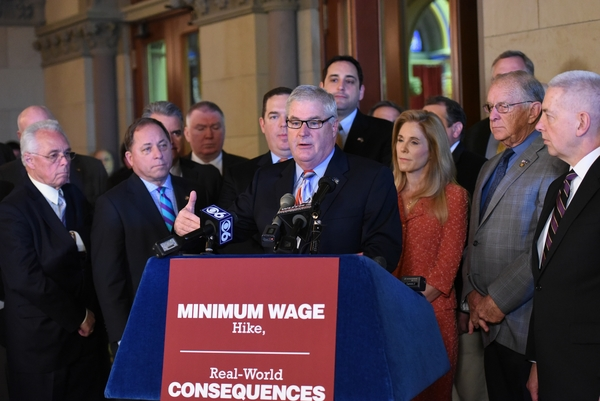 Assemblyman Steve Hawley (R,C,I-Batavia) [front left] joins members of the Assembly Minority Conference to call for alternatives to a $15 per hour minimum wage increase.