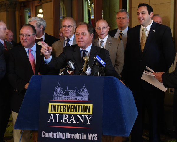 Assemblyman Steve Hawley (R,C,I-Batavia) [at podium] joined legislators and members of the public at a press conference in Albany Wednesday calling for legislative solutions to the heroin crisis.