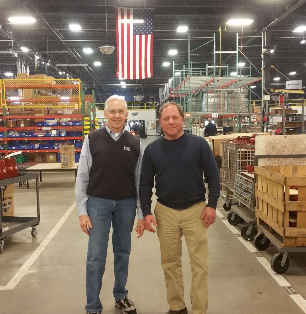 Assemblyman Steve Hawley (R,C,I-Batavia)[right] poses for a photo with Liberty Pumps President and CEO Charlie Cook.<br />