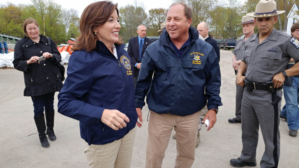 Assemblyman Steve Hawley (R,C,I-Batavia) [right] joins Lt. Gov. Kathy Hochul on a tour of the Lake Ontario shoreline in Kendall Thursday<br />
