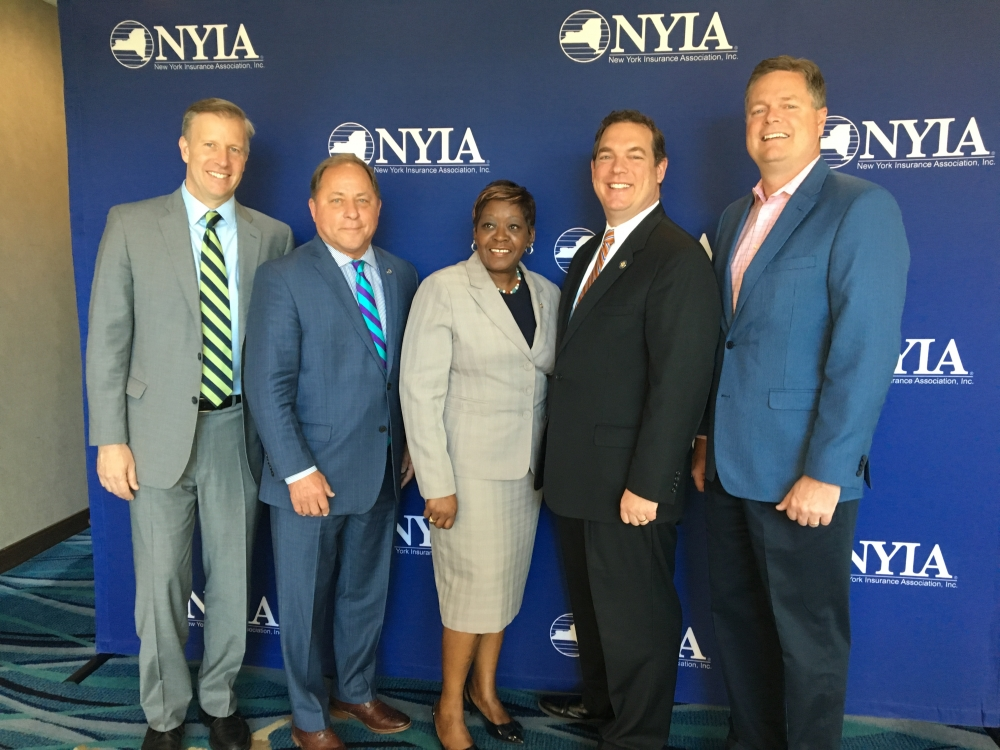 Assemblyman Steve Hawley (R,C,I-Batavia) with Sen. Chris Jacobs, Assemblywoman Crystal People-Stokes, Assemblyman Ray Walter (R,C,I-Amherst) and Moderator Bill Melchionni<br />