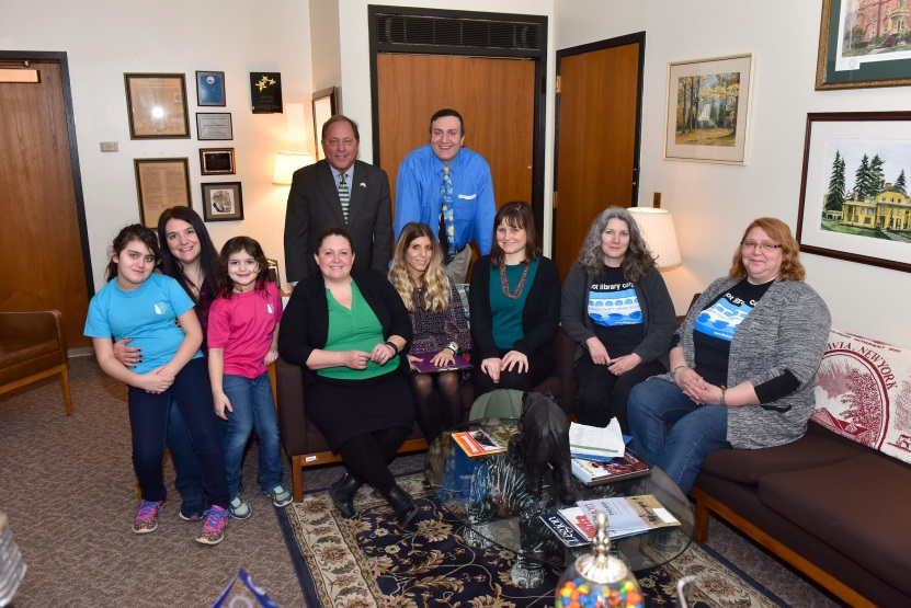 Hawley poses with representatives from the Monroe County Library system in his Albany Office<br />&nbsp;