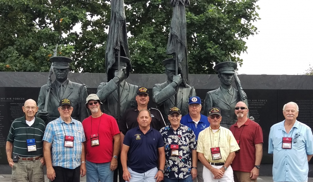 Assemblyman Steve Hawley (R,C,I-Batavia)[center] poses with veterans of the U.S. Air Force at a memorial honoring Air Force veterans during last year&rsquo;s Patriot Trip to Washington D.C. &nbsp;<br />&nbsp;
