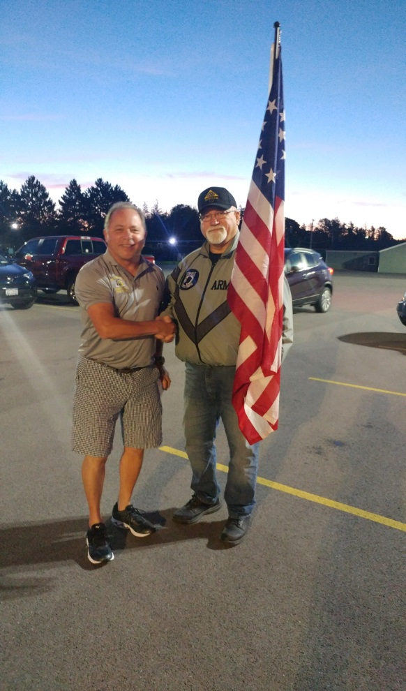 Assemblyman Steve Hawley (R,C,I-Batavia) and Lee Sage, Patriot Guard, at Batavia Downs, before leaving for Patriot Trip XII.