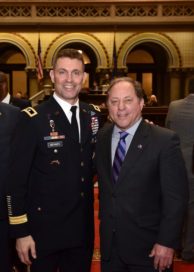 Assemblyman Steve Hawley poses with the Senior Commander of Fort Drum, Major General Brian J. Mennes in Albany on February 26, 2020.