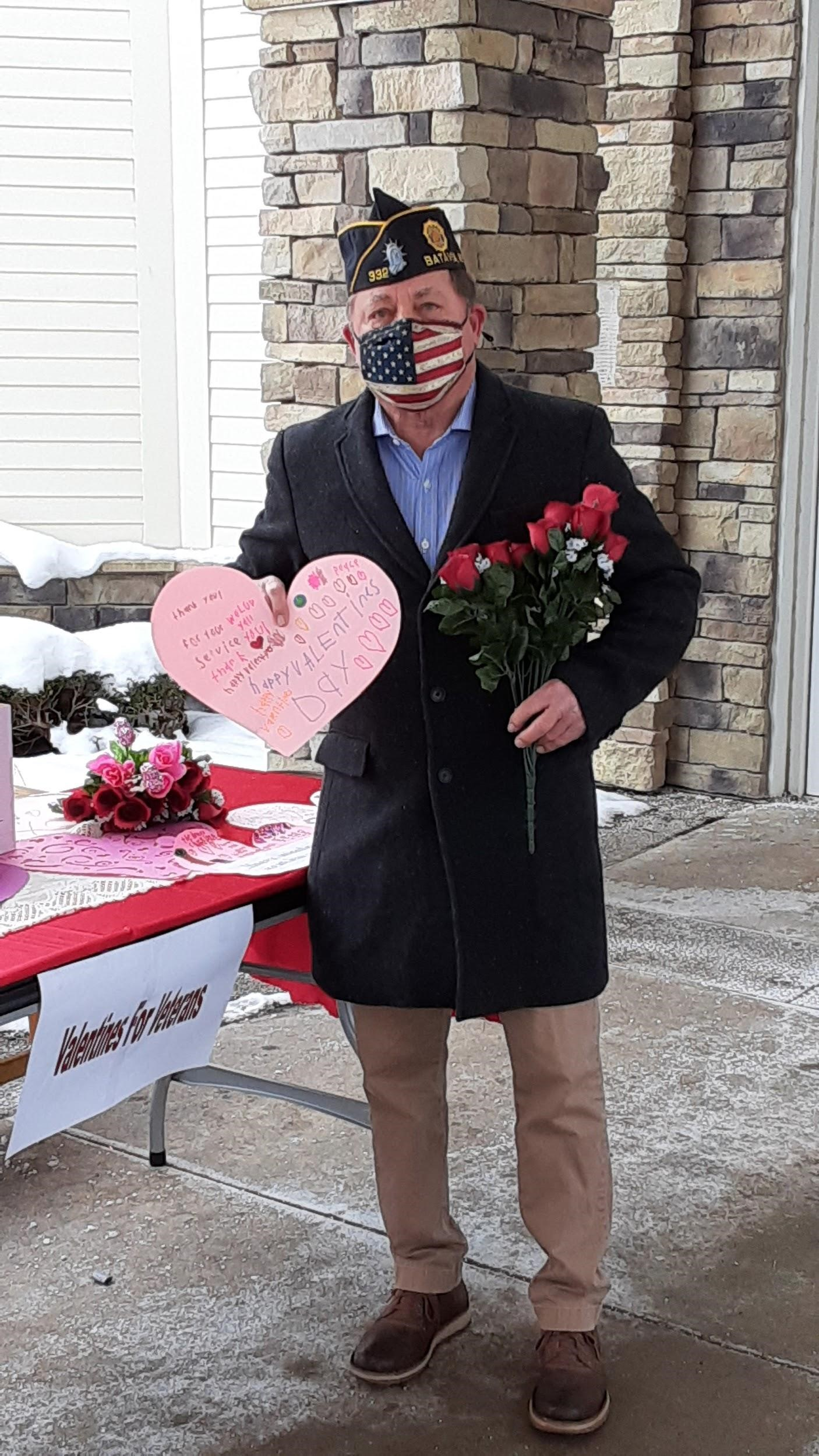 Hawley drops off valentines at the New York State Veterans' Home in Batavia on Feb. 11, 2021