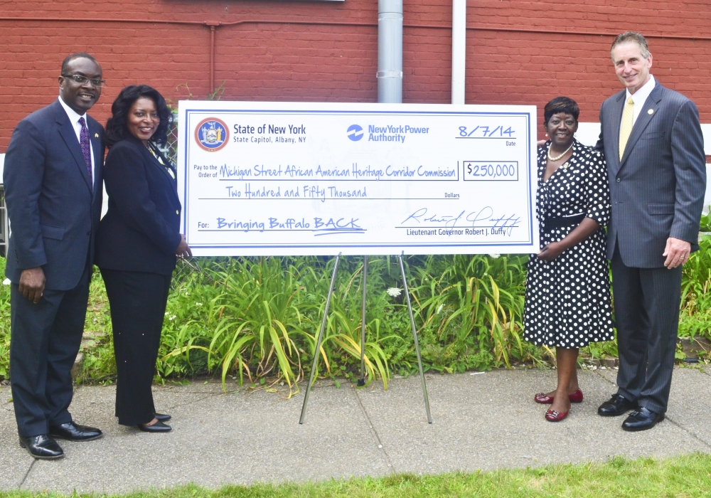 August 7, 2014 � Assemblywoman Crystal Peoples-Stokes at check presentation, highlighting $250,000 in funding to the Michigan Street African American Heritage Corridor Commission.