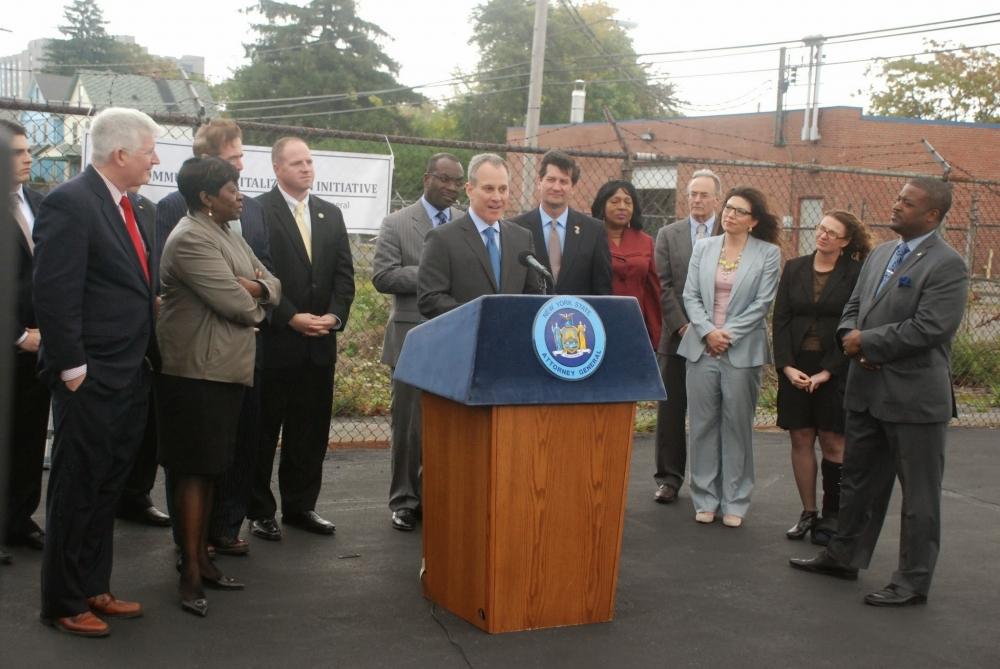 October 16, 2014 � Assemblywoman Crystal Peoples-Stokes joined Attorney General Schneiderman and her colleagues in government, his office announced $2.5 million to the Buffalo Land Bank which is focused on fighting blight in Buffalo. Follow the hashtag #NYFightsBlight on Twitter for updates.