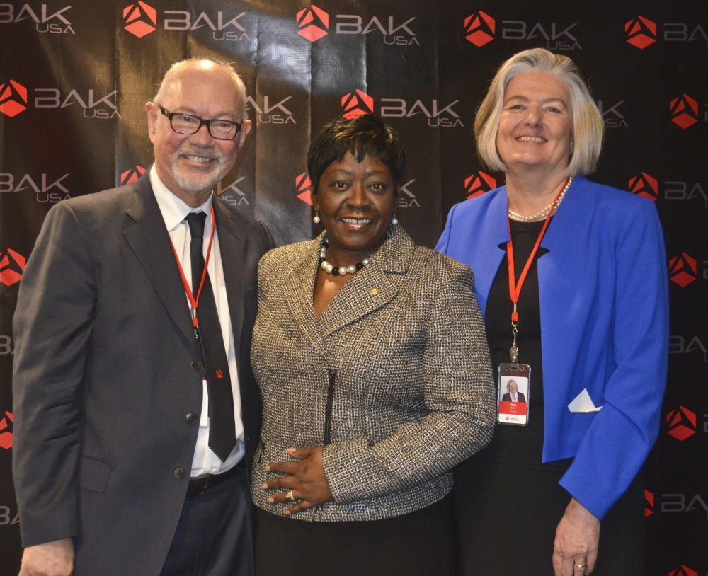 January 15, 2015 � Assemblywoman Crystal Peoples-Stokes at the ribbon cutting ceremony for BAK USA. BAK USA is one of the first companies in the world to produce own-branded electronic tablets outside of Asia.