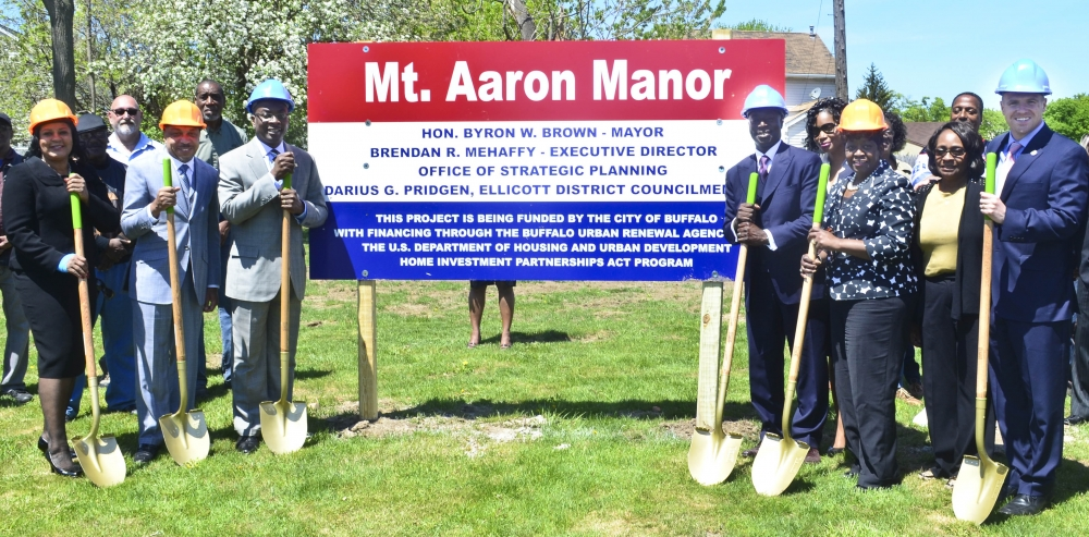 May 14, 2015 � Assemblywoman Peoples-Stokes at the groundbreaking for the Mt. Aaron Manor. The project is a two story, 10 unit apartment building located in the City of Buffalo providing quality affordable housing for seniors.