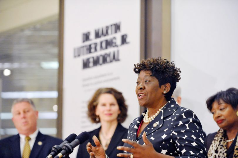 April 30, 2015 � Assemblywoman Peoples-Stokes speaks during the rededication of the Dr. Martin Luther King Jr. memorial in Albany, NY. 