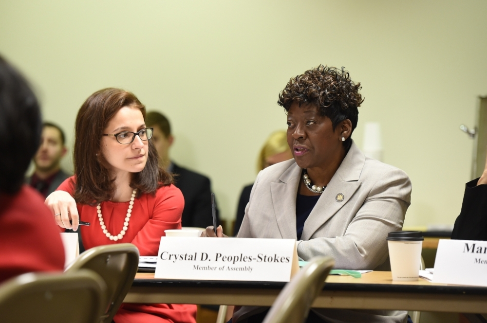 Assemblywoman Peoples-Stokes speaks during a roundtable discussing labor and pay equity related issues in Albany.