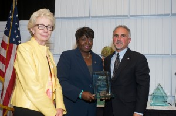 October 19, 2015 � Assemblywoman Peoples-Stokes NYS NYSID 2015 Preferred Source Champion Award co-recipient, Francoise Dunefsky, NYSID board chair and Ron Romano, NYSID president & CEO.