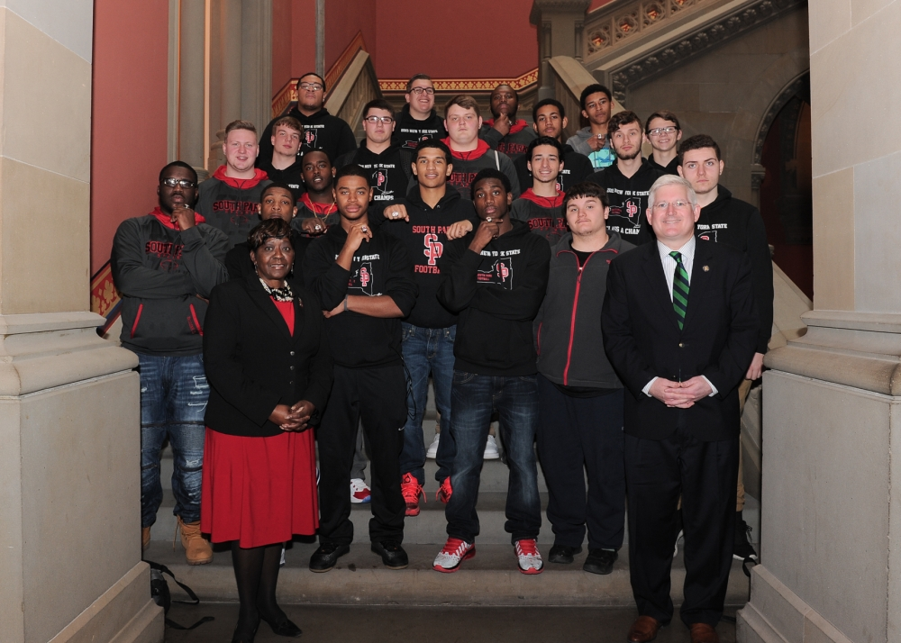 March 14, 2016 � Assemblywoman Peoples-Stokes welcomes the New York State Class A Football Champions from South Park High School to the Assembly Chamber.