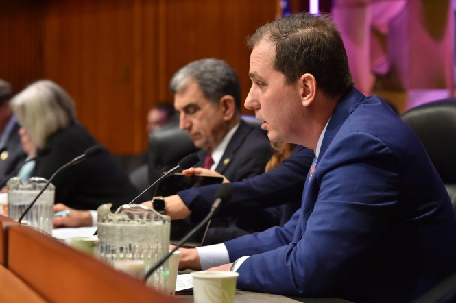 Pictured above: Assemblyman Mike Norris speaks at the Joint Budget Hearing on Transportation in Albany on Jan. 28, 2020.