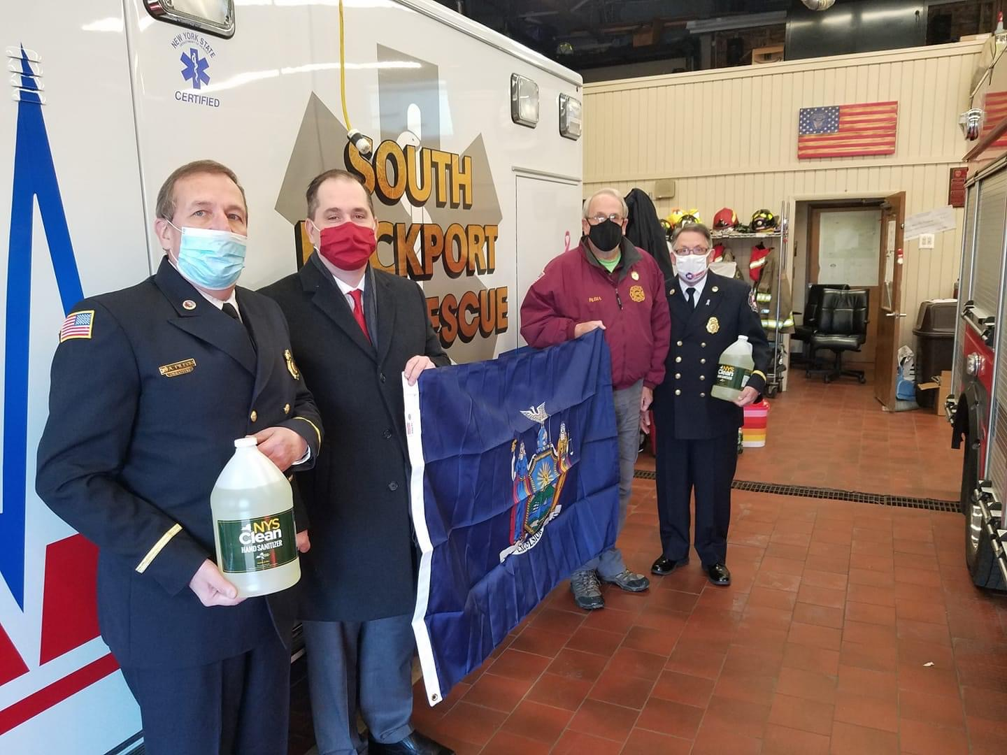 Christmas came a little early this year and I was happy to drop off some hand sanitizer and an official New York State flag to the South Lockport Volunteer Fire Company. Thank you to the Firemen's Ass
