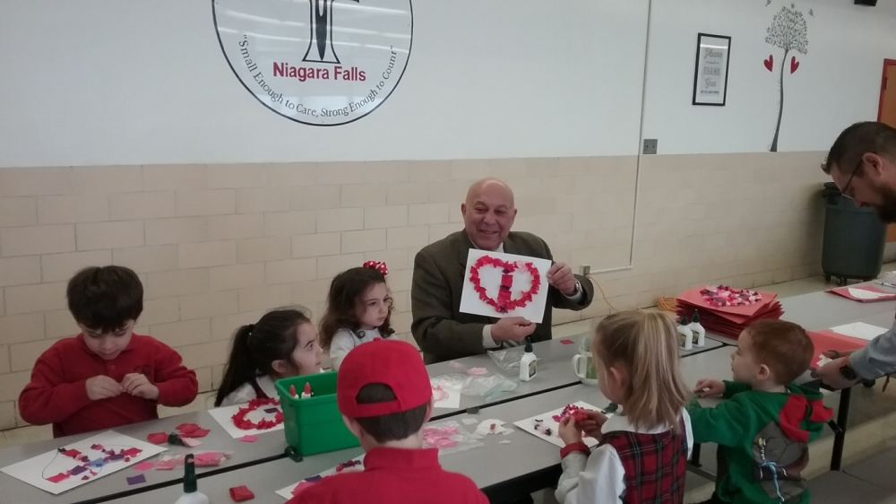 Assemblyman Angelo J. Morinello(R,C,I,Ref-Niagara Falls)  hosts his first annual Valentines for Seniors Program at Catholic Academy in Niagara Falls. Pictured around the table clockwise - Mr. Joseph D