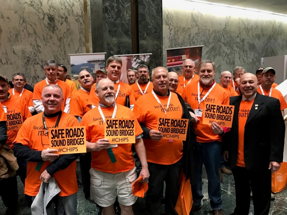 Assemblyman Angelo J. Morinello(R,C,I,Ref-Niagara Falls) joined a group of highway workers from Niagara County for Wednesday's CHIPS rally at the Legislative Office Building.