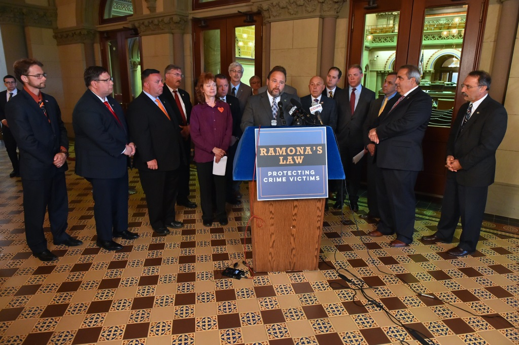 Assemblyman Angelo J. Morinello (R,C,I-Ref-Niagara Falls) attends Ramona's Law press conference on Tuesday, May 21.